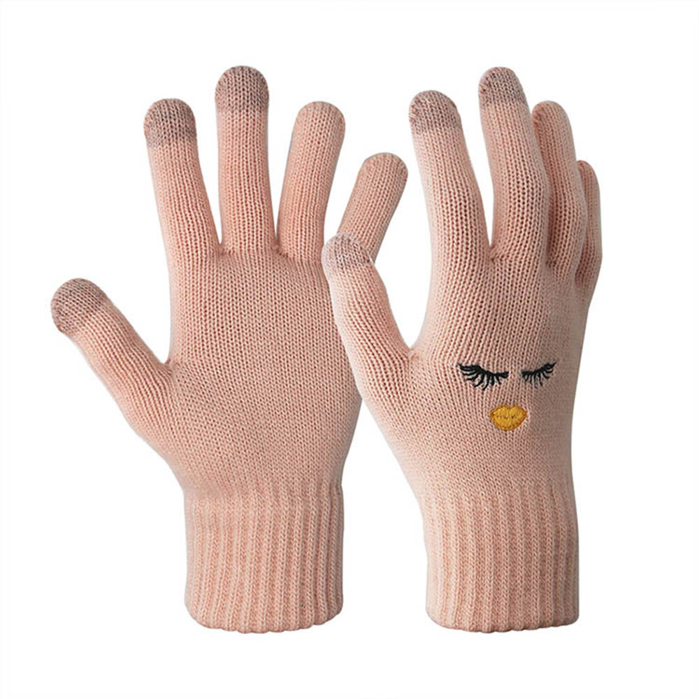 Embroidered Stretchable Touch Screen Gloves with Conductive 3 Fingertips