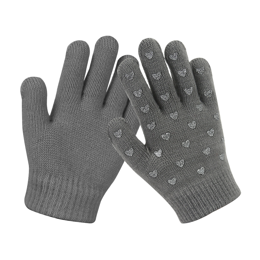 Grey Silicone Printed Touch Screen Magic Knit kids Gloves for Winter