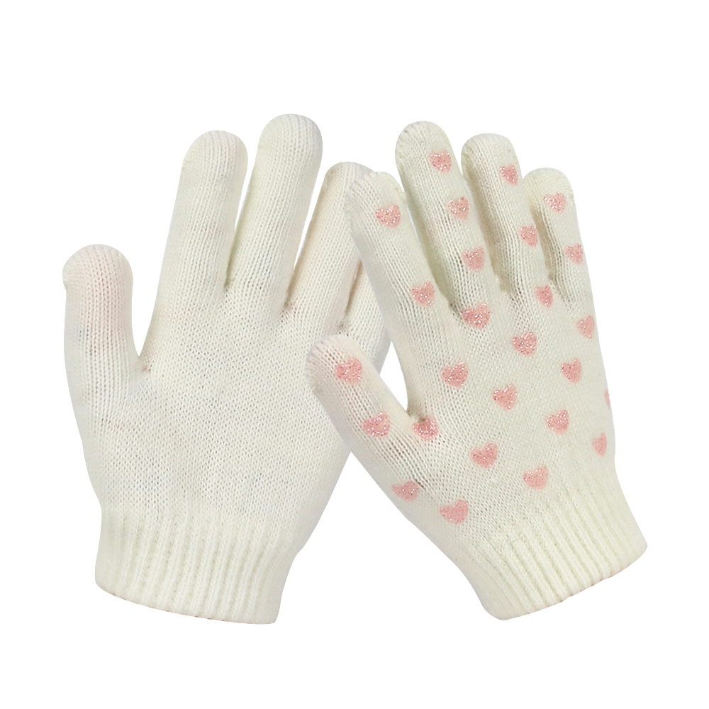 White Silicone Printed Touch Screen Magic Knit kids Gloves for Winter