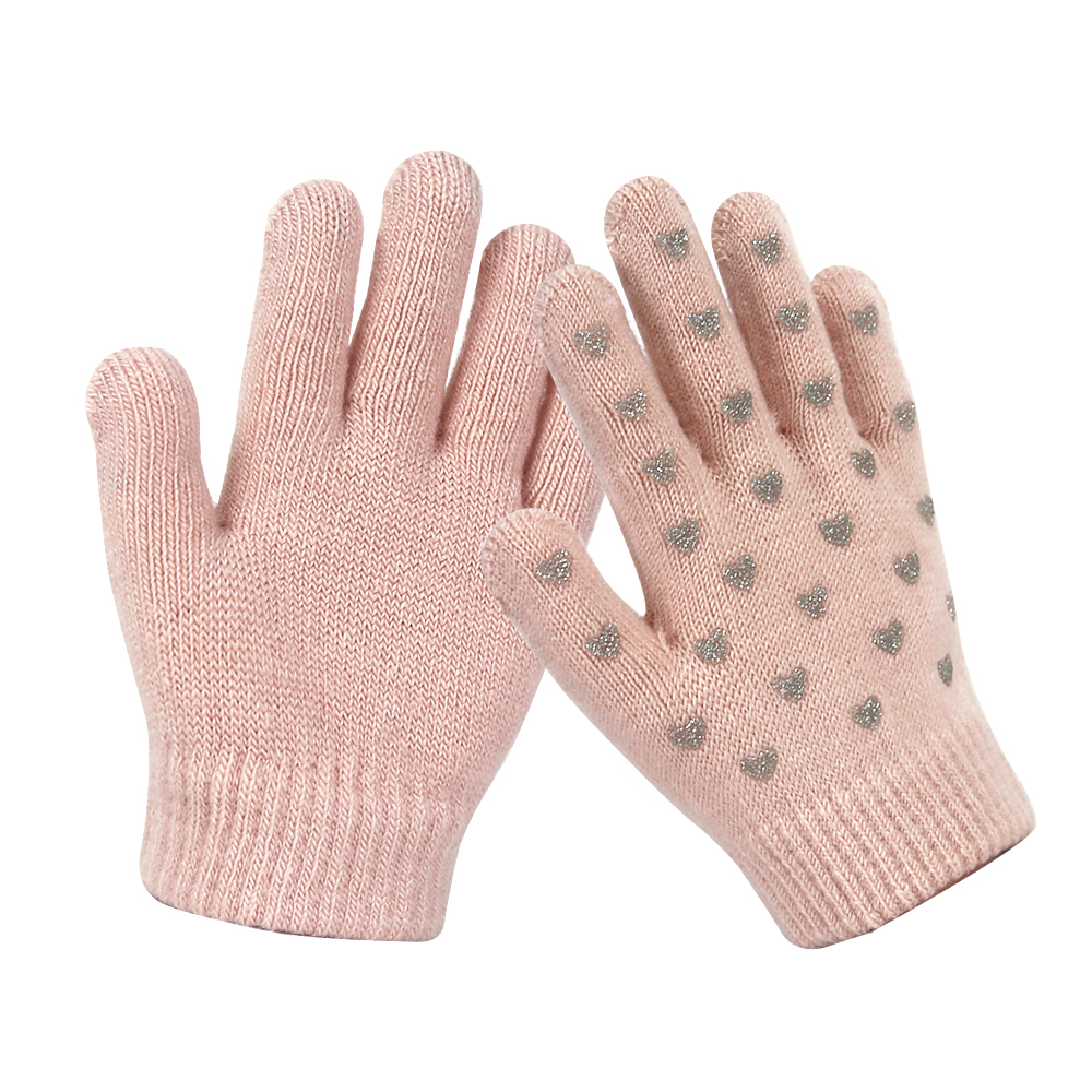 Pink Silicone Printed Touch Screen Magic Knit kids Gloves for Winter