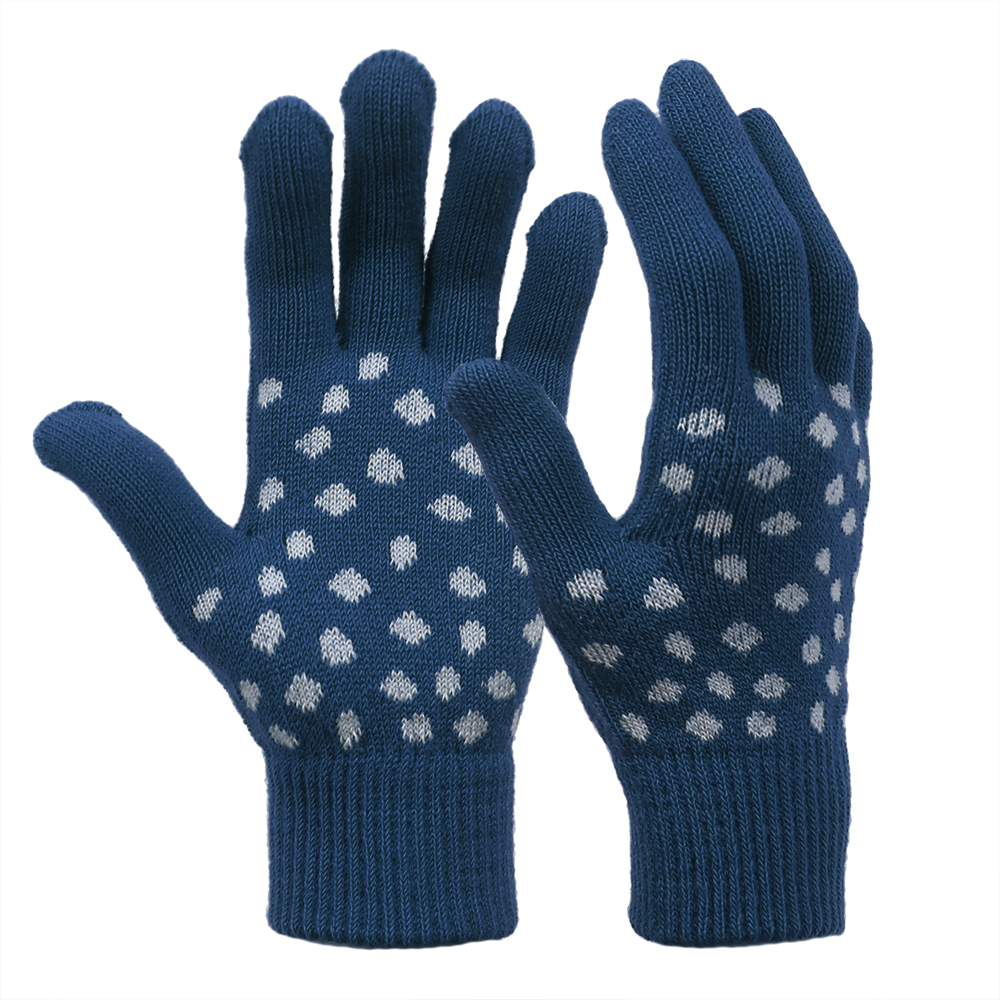 Blue Fashionable Cute Jacquard Stretch Knit Gloves for Clod