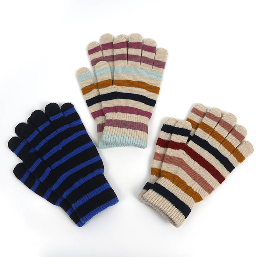 Women Fashionable Strip Pattern Warm Winter Knit Gloves