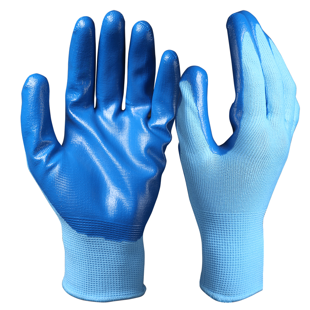 13 G Blue 1/2 Nitrile Coated Glove Nylon Polyester String Knit Liner Strong Oil Resistant Work Gloves