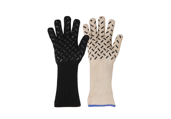 White+Black Silicone pattern grip on palm BBQ Heat Resistant Gloves