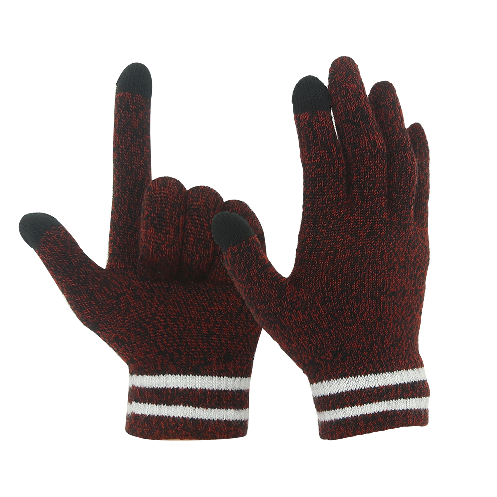 Brown 10G Conductive  2 Fingertips magic Stretch Touch Screen Gloves