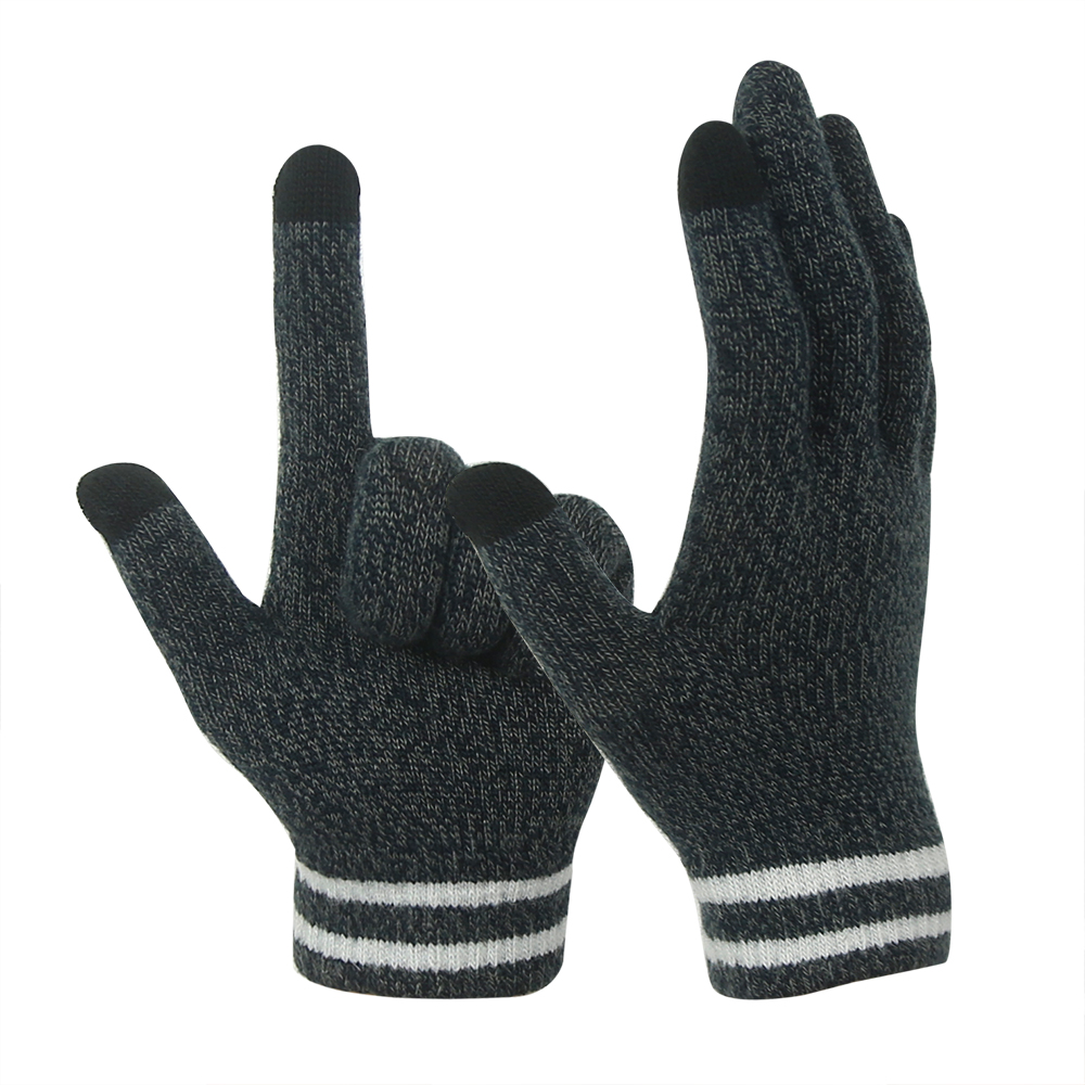 Grey 10G Conductive  2 Fingertips magic Stretch Touch Screen Gloves