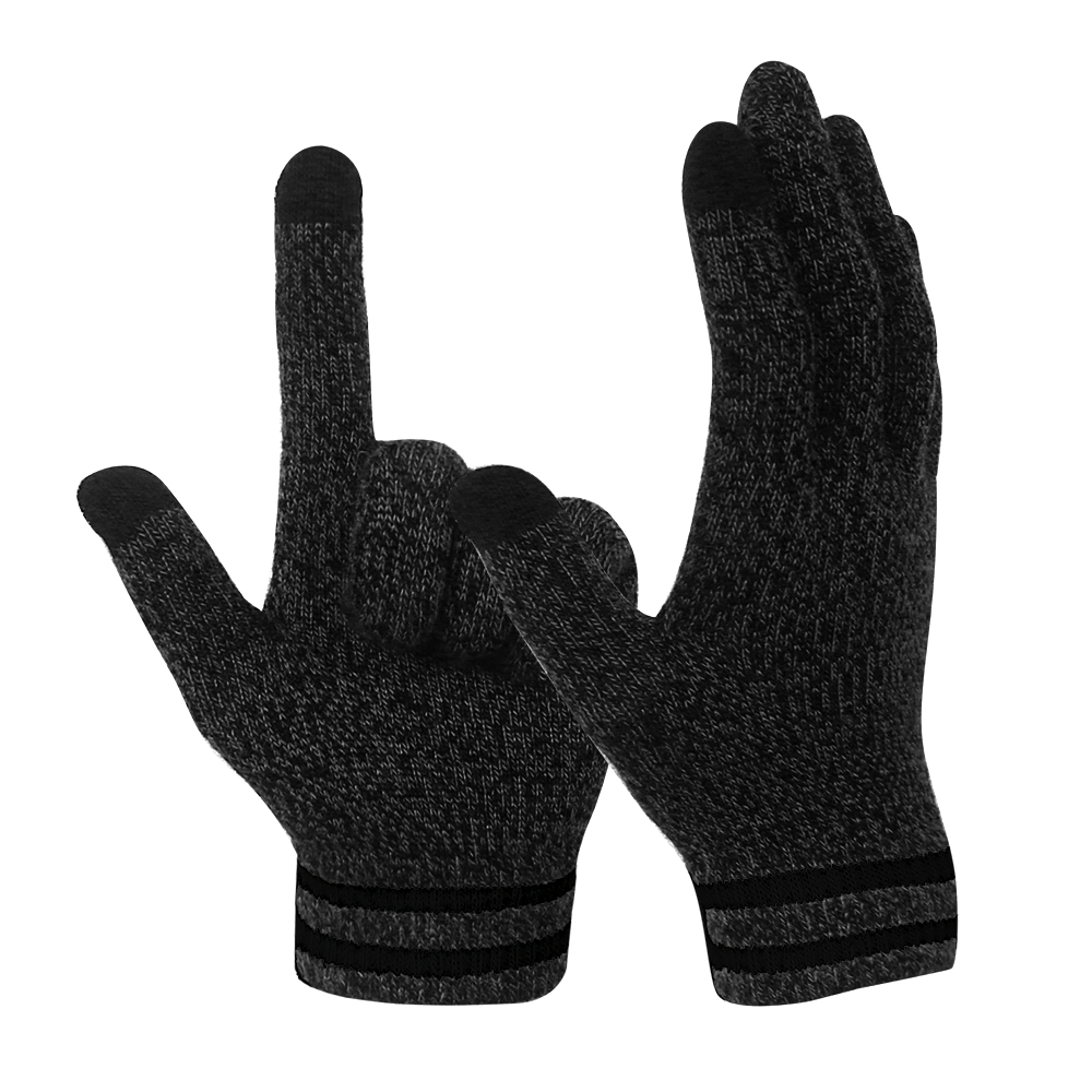 Black 10G Conductive  2 Fingertips magic Stretch Touch Screen Gloves