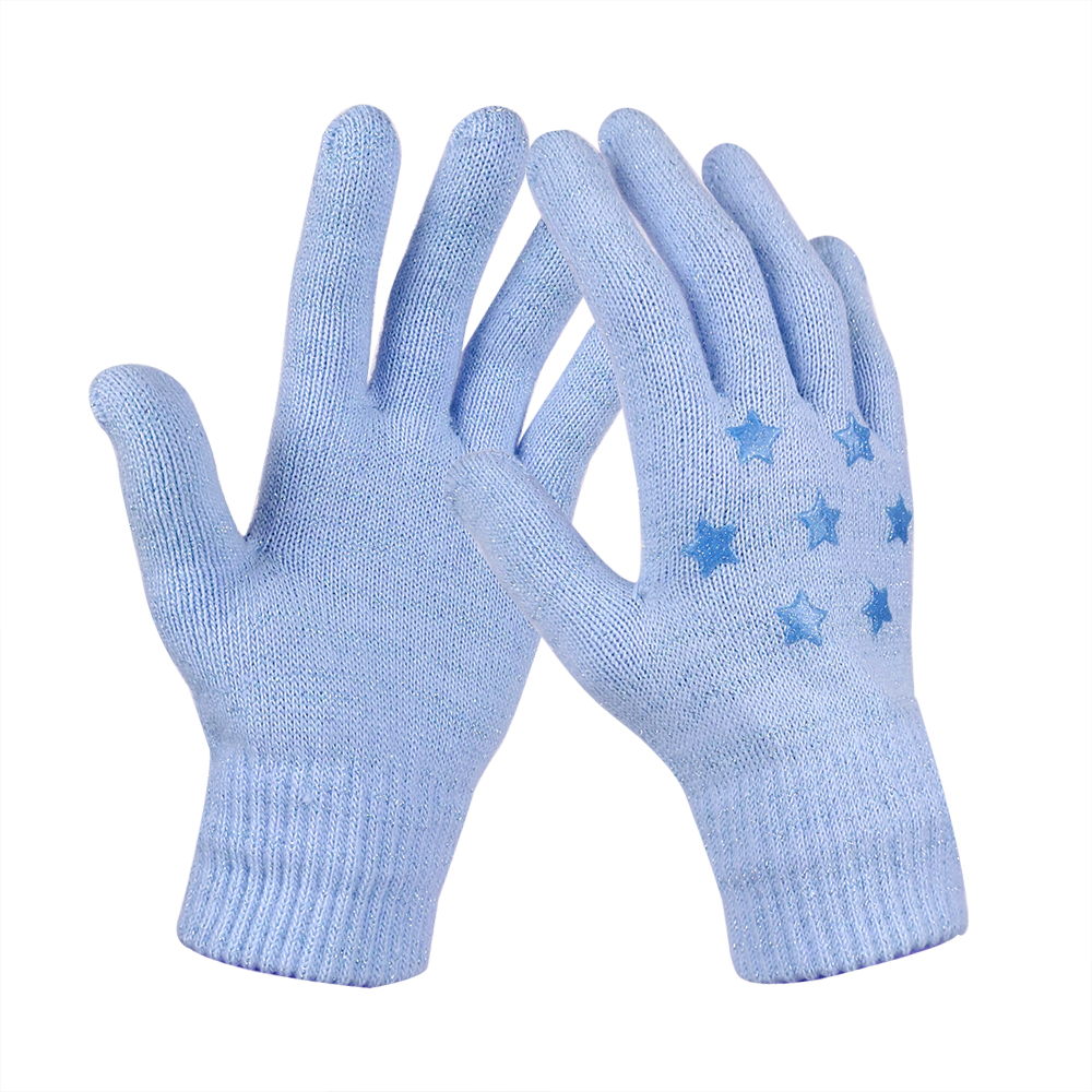 Blue レディス手袋 のびのび手袋 マジックニット手袋 シリコンプリント付き 5本指 フィット 防寒