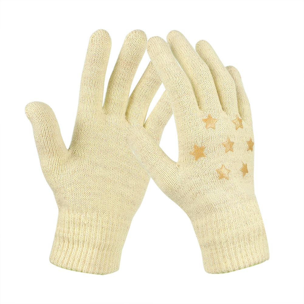 Yellow レディス手袋 のびのび手袋 マジックニット手袋 シリコンプリント付き 5本指 フィット 防寒