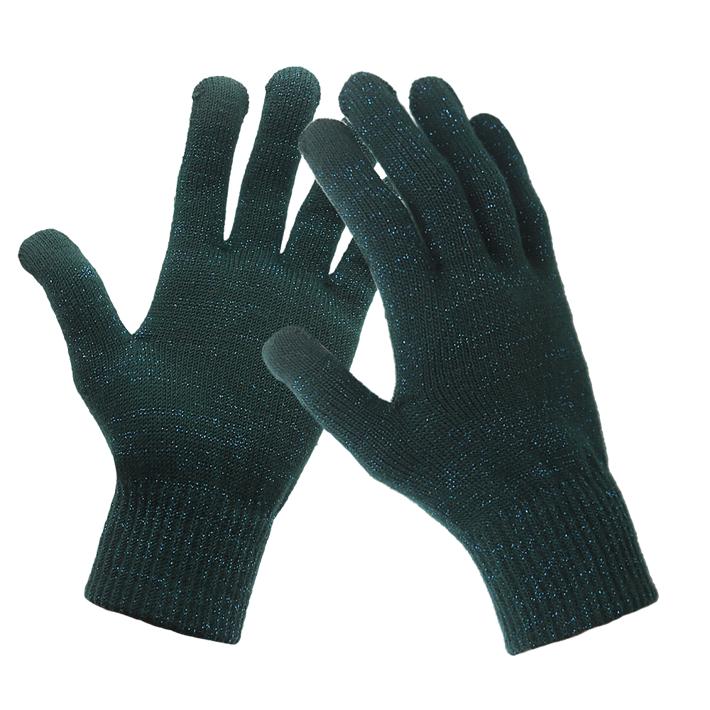 Black 抗菌防臭手袋 コロナ対策 10Gスマホ対応手袋 のびのびマジック手袋 防寒 メッキ糸編み込み