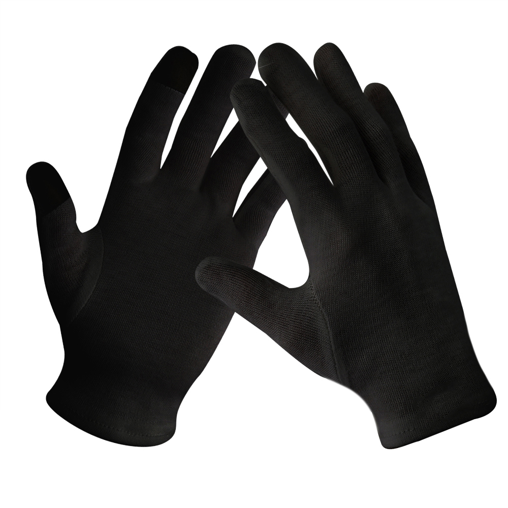 Black Color Antibacterial Touch Screen Light Weight Cotton Work Gloves