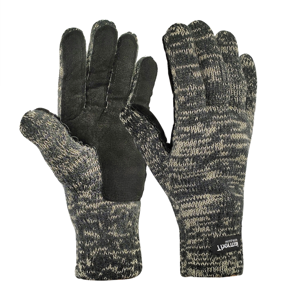 3M Thinsulate Lining 50% Wool/Acrylic Double Knit Gloves with Leather on Plam/IWG-032