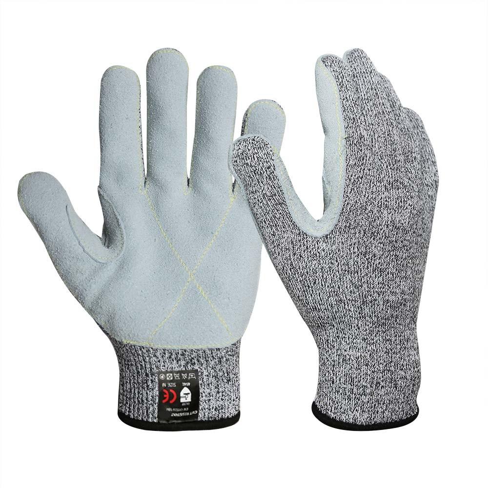 CRG-017 13G HPPE Cut Resistant Cow Split Leather Gloves