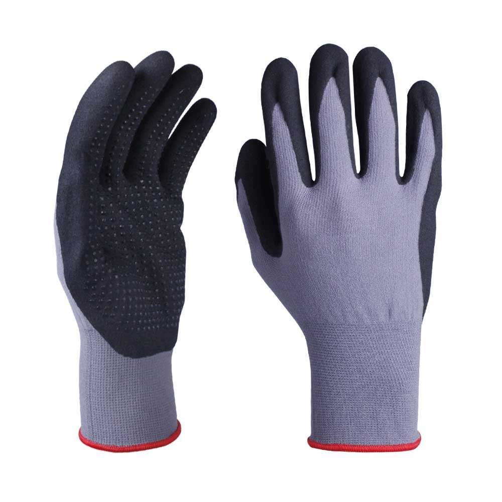 NCG-043 15G Gray Nylon Glove with Black Ultra-thin Foam Nitrile and Dots Coated