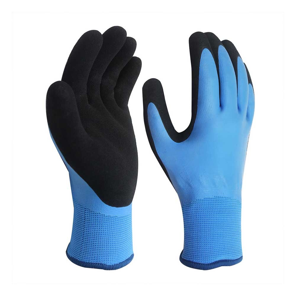 LCG-017 Waterproof 15G Nylon Gloves with Double Latex Coated