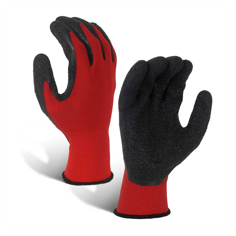 LCG-016-R Wrinkle Latex Coated Red 13G Polyester Gloves