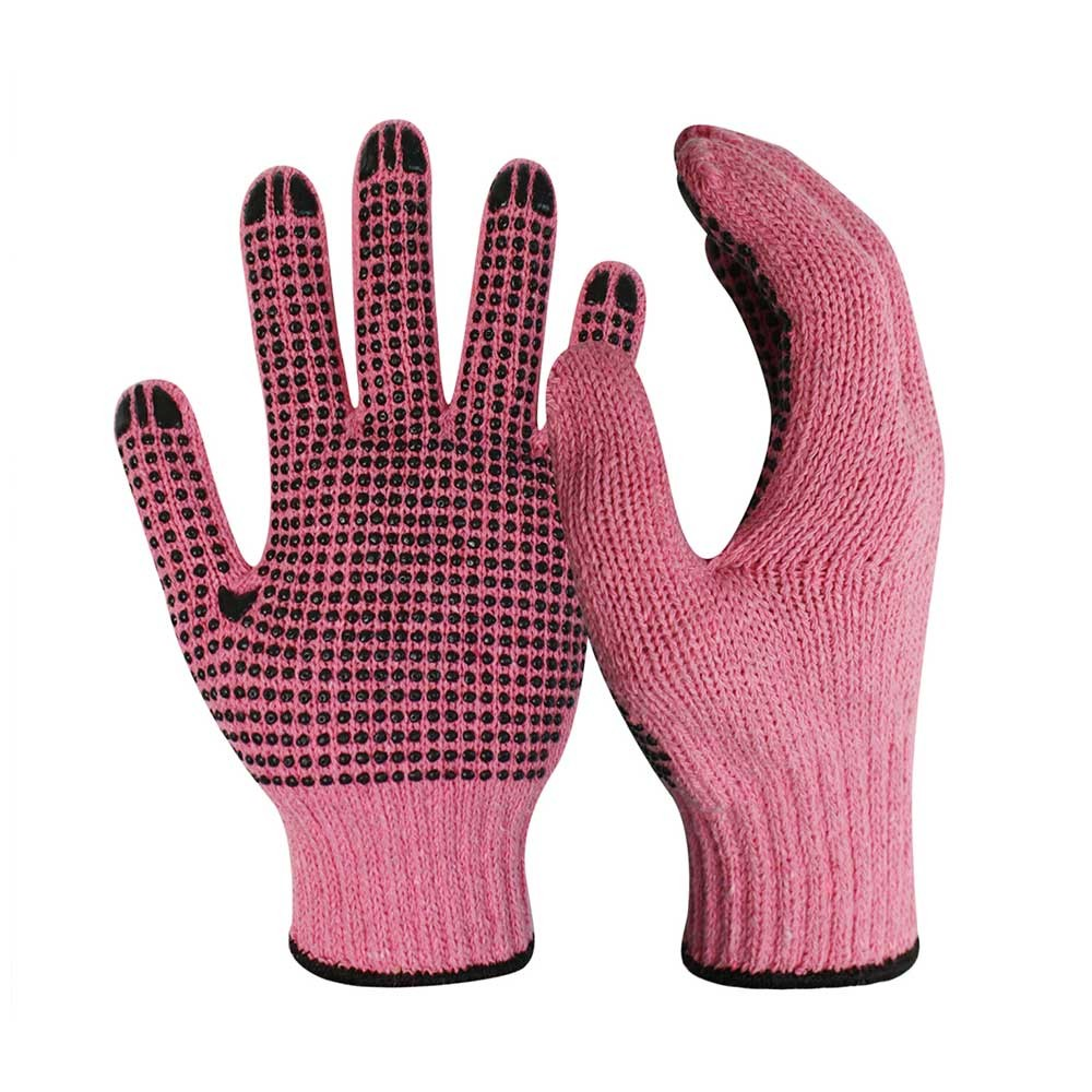 CKG-009 7G Pink Poly/Cotton Gloves with Black PVC on Palm