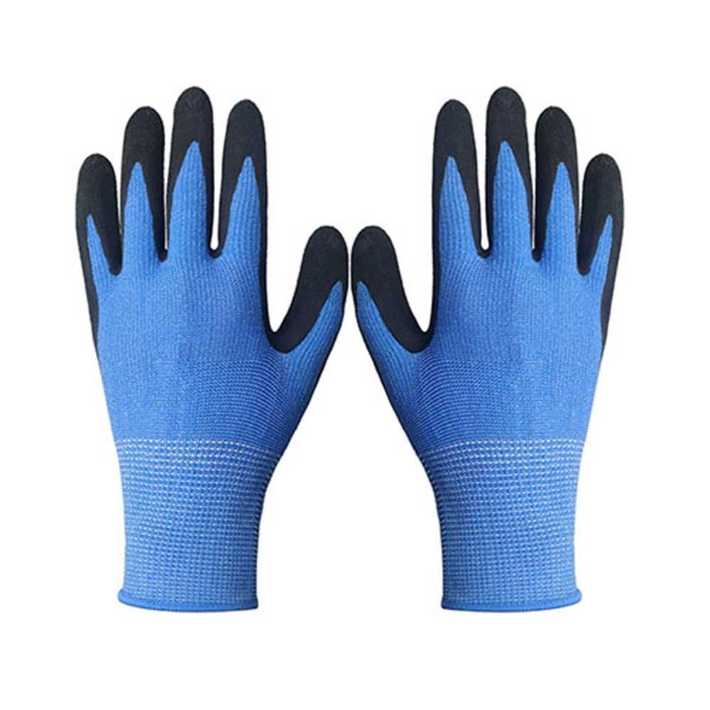 Blue String Knit Polyester Gloves for Garden Work