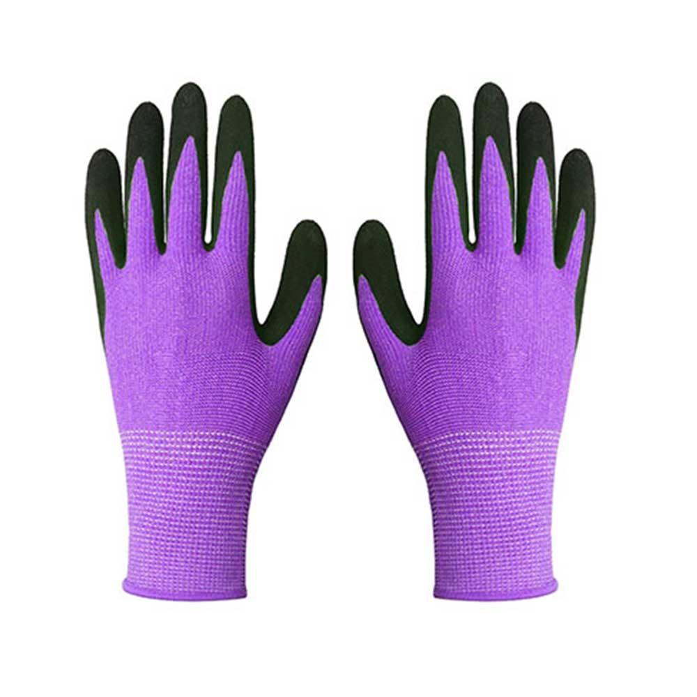 Purple String Knit Polyester Gloves for Garden Work