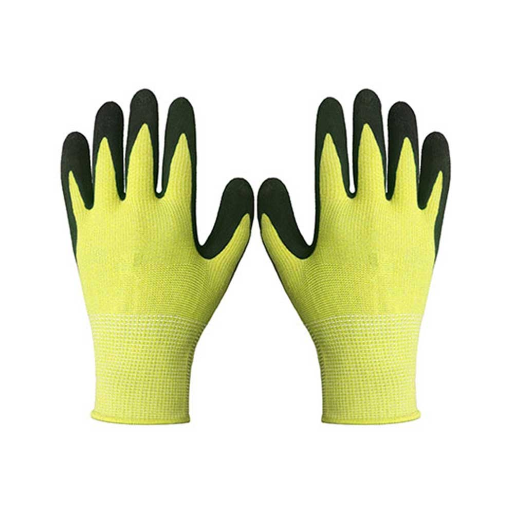 Yellow String Knit Polyester Gloves for Garden Work