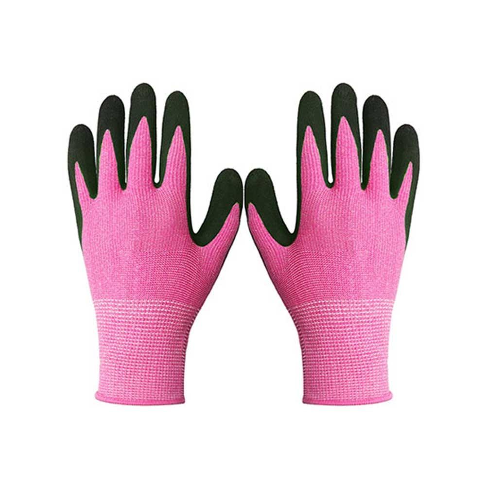 Pink String Knit Polyester Gloves for Garden Work